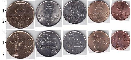 Изображение Наборы монет Словакия Словакия 2003-2007 0  AUNC В наборе 5 монет ном