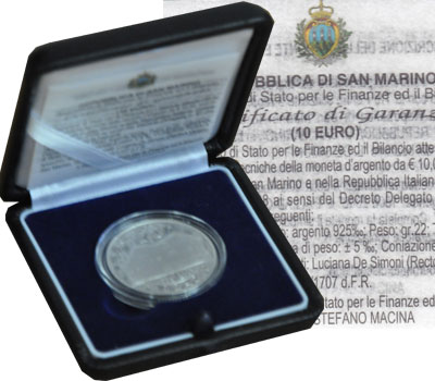 Изображение Подарочные монеты Сан-Марино Палладио 2008 Серебро Proof