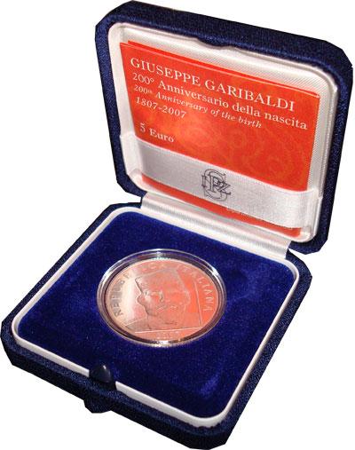 Изображение Подарочные монеты Италия Джузеппе Гарибальди 2007 Серебро UNC Набор посвящён Джузе