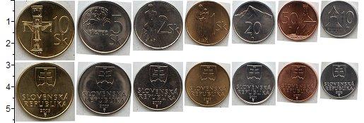 Изображение Наборы монет Словакия Словакия 1996-2007 0  UNC- В наборе 7 монет ном