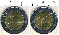 Изображение Мелочь Сан-Марино 500 лир 1990 Биметалл XF Голуби
