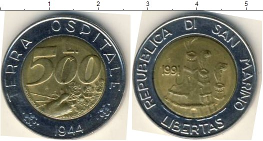 Картинка Мелочь Сан-Марино 500 лир Биметалл 1991