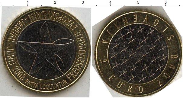 Картинка Мелочь Словения 3 евро Биметалл 2008