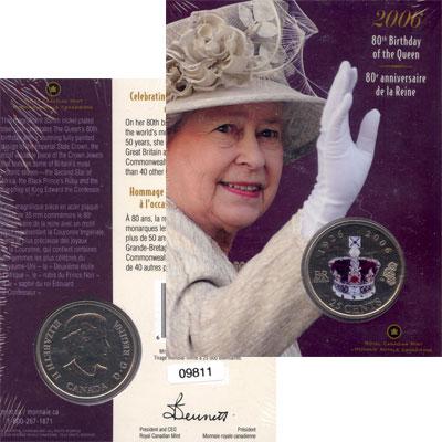 """Изображение Подарочные монеты Канада 80-летие королевы Елизаветы II 2006 Медно-никель UNC """"Подарочный набор по"""