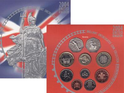 Изображение Подарочные монеты Великобритания Регулярный выпуск 2004 2004  Proof Набор монет состоит