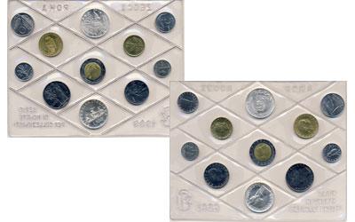 Изображение Подарочные монеты Италия Регулярный выпуск 89 1989  UNC Подарочный набор из