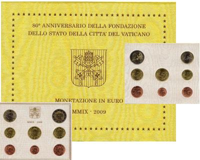 Изображение Подарочные монеты Ватикан Евронабор 2009 2009  UNC Подарочный евронабор