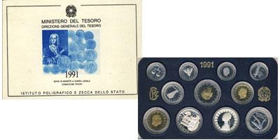 Изображение Подарочные монеты Италия Регулярный выпуск 91 года 1991  Proof Подарочный набор из