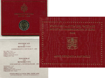 Изображение Подарочные наборы Ватикан Понтифик Бенедикту XVI, 2008 Биметалл UNC Подарочный евронабор