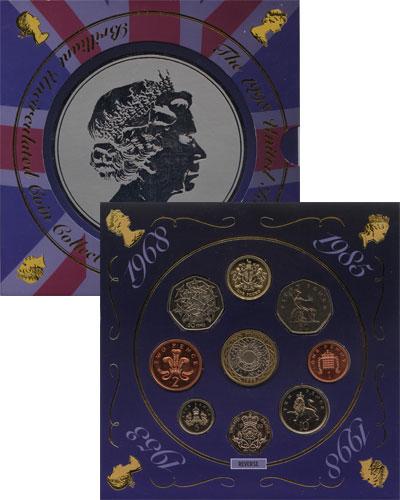 Изображение Подарочные монеты Великобритания Портрет Елизаветы - национальный символ 1998  UNC Набор монет состоит