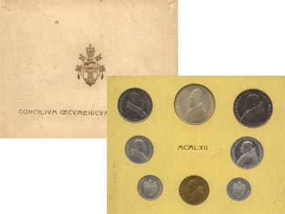 Изображение Подарочные монеты Ватикан Выпуск 1962 года 1962  UNC В наборе 8 монет: 1