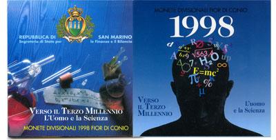 Изображение Подарочные монеты Сан-Марино Науки 1998 1998  UNC Набор монет республи