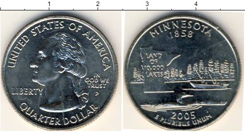 Картинка Мелочь США 1/4 доллара Медно-никель 2005