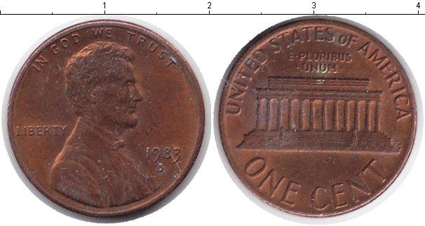 Картинка Мелочь США 1 цент Медь 0