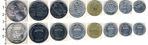 Изображение Наборы монет Сан-Марино Сан-Марино 1973 1973  AUNC Набор состоит из 8 м