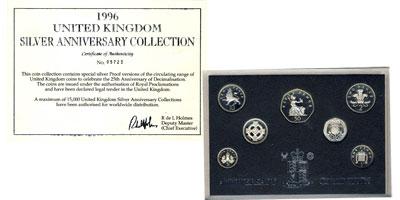 Изображение Подарочные монеты Великобритания Серебряный набор 1996 1996 Серебро Proof Представляем вам год