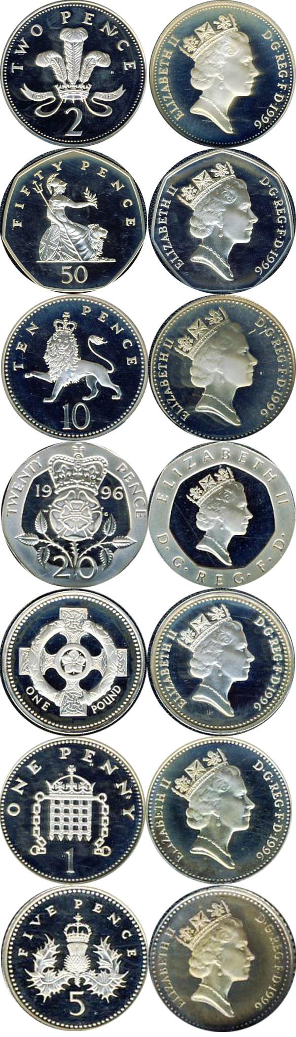 Картинка Подарочные наборы Великобритания Серебряный набор 1996 Серебро 1996
