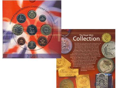 Изображение Подарочные монеты Великобритания Годовой набор 2001 2001  AUNC Представляем вашему