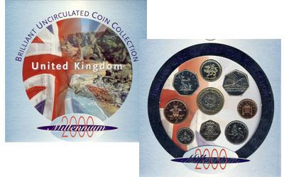 Изображение Подарочные монеты Великобритания Годовой набор 2000 2000  UNC Представляем вашему