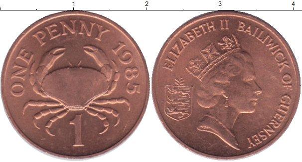 Картинка Мелочь Гернси 1 пенни Медь 1985