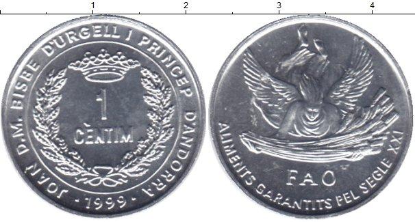 Картинка Мелочь Андорра 1 сентим Алюминий 1999