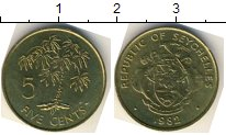 Изображение Мелочь Сейшелы 5 центов 1982  AUNC Пальма