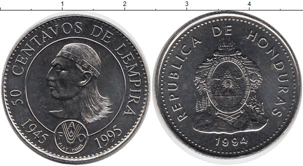 Картинка Мелочь Гондурас 50 сентаво Медно-никель 1994