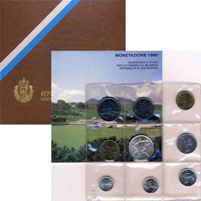 Изображение Подарочные монеты Сан-Марино Регулярный выпуск 1980 года 1980  AUNC Набор посвящён XXII