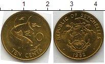 Изображение Мелочь Сейшелы 10 центов 1982 Медь AUNC