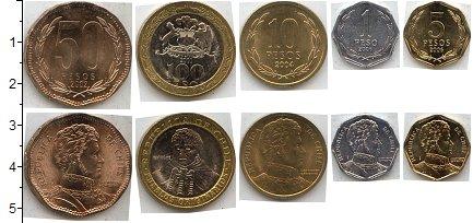 Изображение Наборы монет Чили Чили 2001-2006 0  AUNC В наборе 5 монет ном