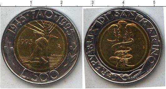 Картинка Мелочь Сан-Марино 500 лир Биметалл 1995