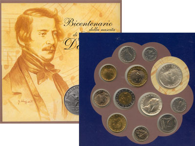 """Изображение Подарочные монеты Италия Гаэтано Доницетти 1997  UNC- """"Подарочный набор по"""