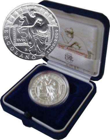 Изображение Подарочные монеты Италия 300-летие открытия Геркуланума 2009 Серебро