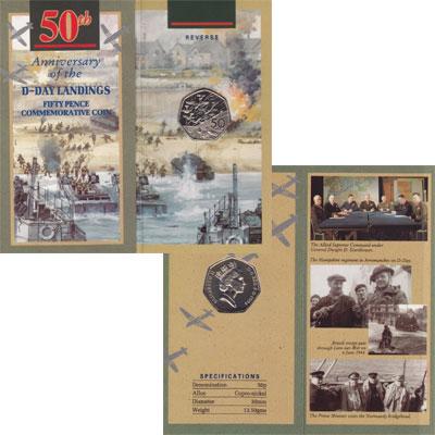 Изображение Подарочные монеты Великобритания 50 пенсов 1994 Медно-никель UNC Набор посвящён боевы