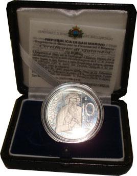 Изображение Подарочные монеты Сан-Марино Джозуэ Кардуччи 2007 Серебро Proof