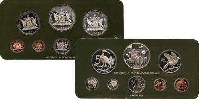 """Изображение Подарочные наборы Тринидад и Тобаго Набор памятных монет 1975 года 1975  UNC """"8 монет, отчеканены"""