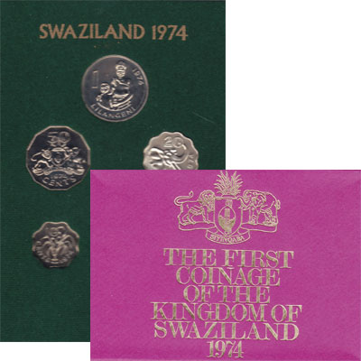 Изображение Подарочные монеты Свазиленд первый выпуск 1974 года 1974  UNC Первый выпуск монет