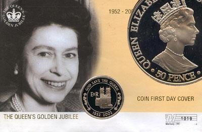 Изображение Подарочные монеты Великобритания Аскенсион Золотой юбилей Елизаветы 2002 Медно-никель