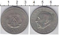 Изображение Мелочь ГДР 20 марок 1971 Медно-никель XF Генрих Мэнн