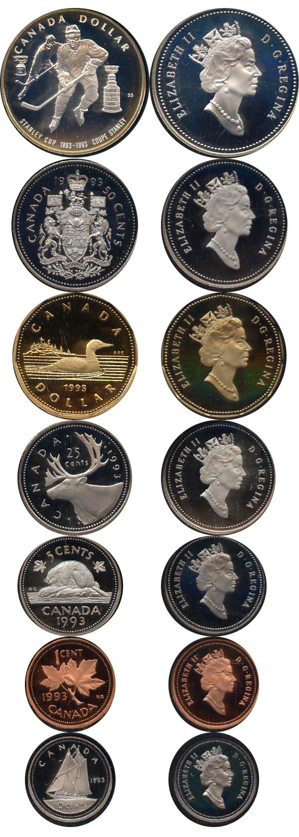 Картинка Подарочные монеты Канада Хоккей Серебро 1993