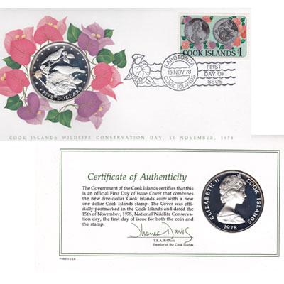 Изображение Подарочные монеты Острова Кука Сохранение животного мира, Птицы 1978 Серебро Proof Подарочный набор пос