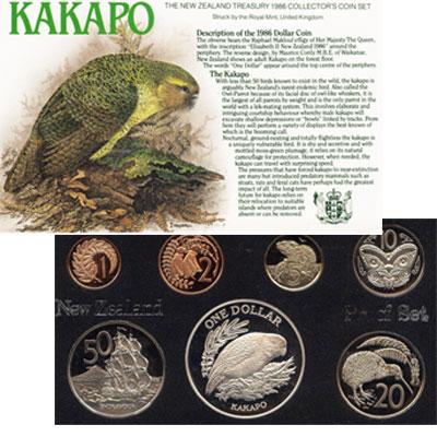 Изображение Подарочные монеты Новая Зеландия Какапо- новозеландская птичка 1986  Proof