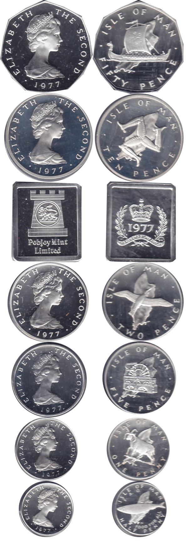 Картинка Подарочные наборы Остров Мэн 25-летие коронации Серебро 1977