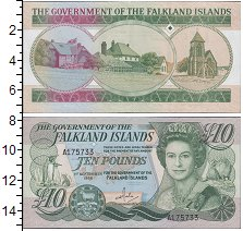 Банкнота Фолклендские острова 10 фунтов 2011 Портрет королевы Ели...