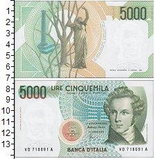Изображение Банкноты Италия 5000 лир 1985  AUNC