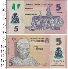Изображение Боны Нигерия 5 найра 2009  UNC Пластик. Портрет А.А