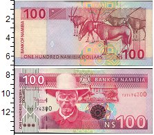Изображение Боны Намибия 100 долларов 0  UNC Портрет. Парнокопытн