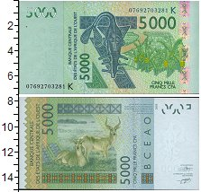 Изображение Банкноты КФА 5000 франков 2003  UNC Западное. Бананы. Па