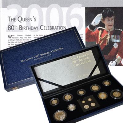 Изображение Подарочные монеты Великобритания 80 - летие Королевы Великобритании Елизаветы 2006 Серебро Proof Подарочный набор пос