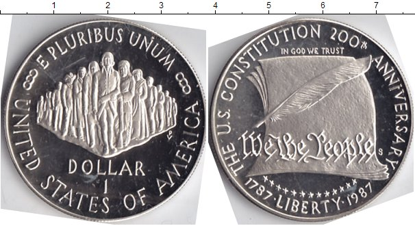 Картинка Мелочь США 1 доллар Серебро 1987